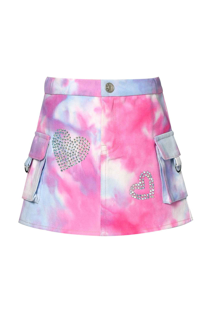 Baby Sara Little Girls Tie Dye Cargo Pocket Mini Denim Skirt