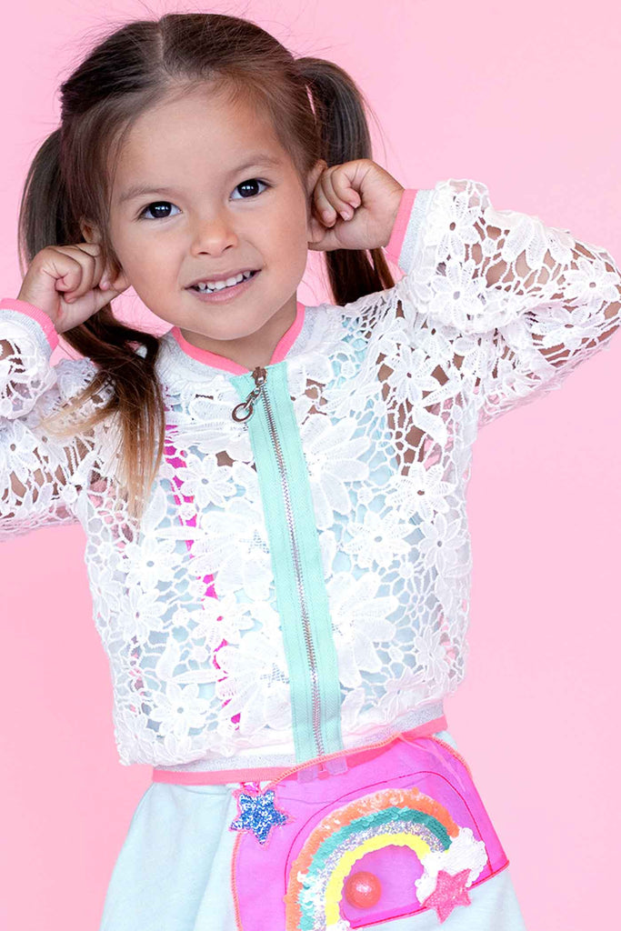 Baby Sara Little Girls Airy Lace Bomber Jacket