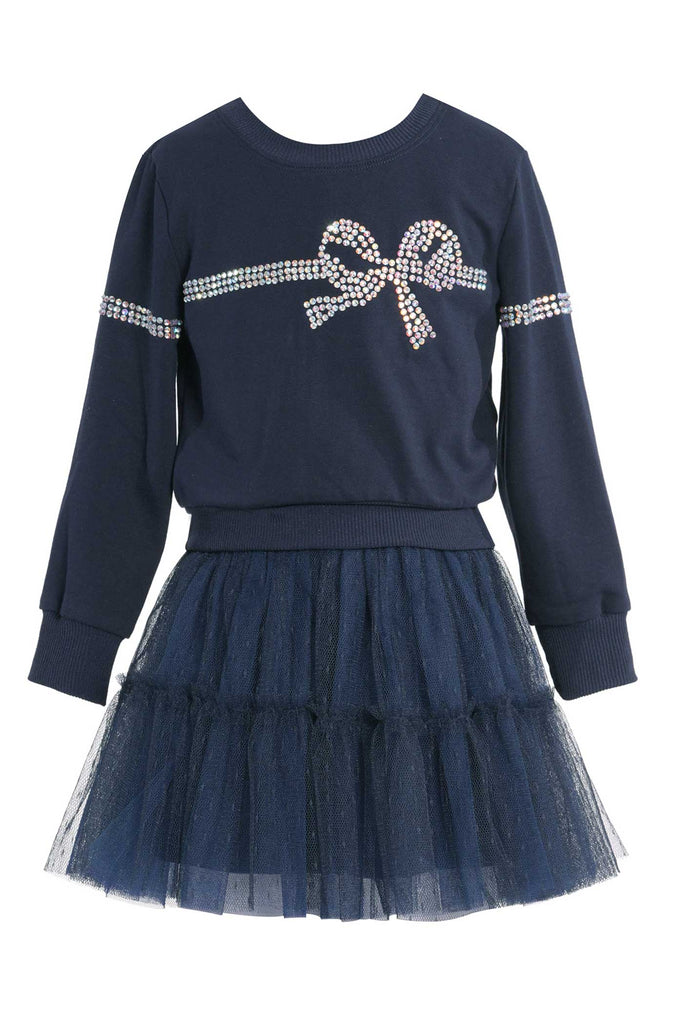 Baby Sara Little Girls Sweatshirt And Tutu Dress Twofer Set