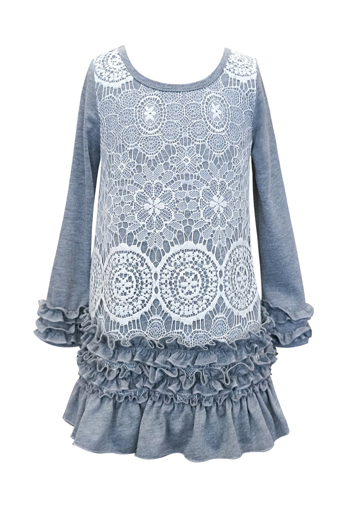 Baby Sara Little Girls Lace Overlay Long Sleeve Knit Dress