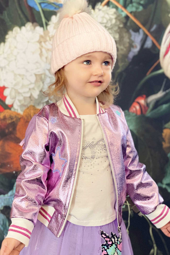Baby Sara Little Girls Metallic Bomber Jacket with Back Fringes