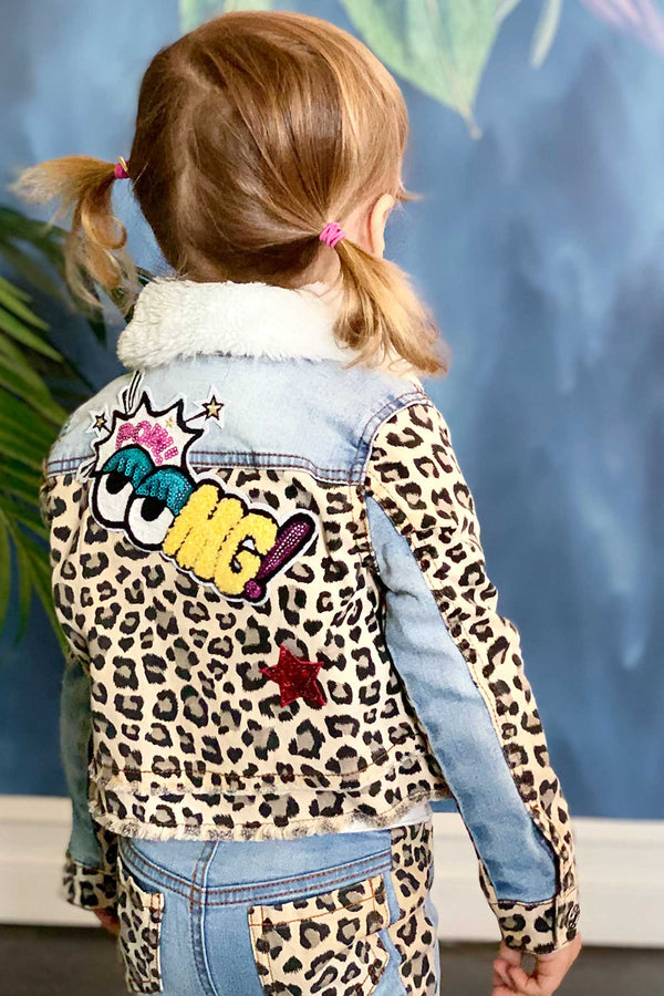 Baby Sara Little Girls Animal Print Fur Collar Denim Jacket