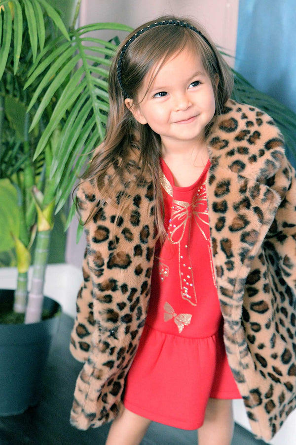 Baby Sara Little Girls Animal Print Faux Fur Teddy Coat