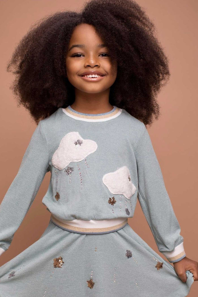 Baby Sara Little Girls Two Piece Cloud and Star Sweatshirt Dress