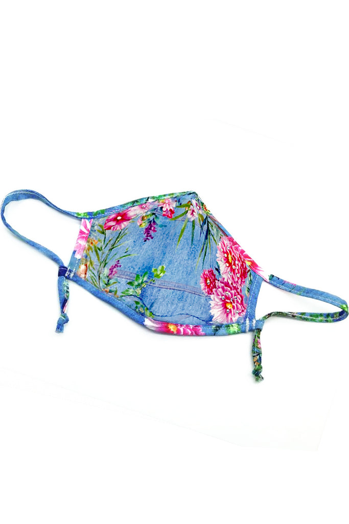 Girls Denim Floral Print Fashion Face Mask