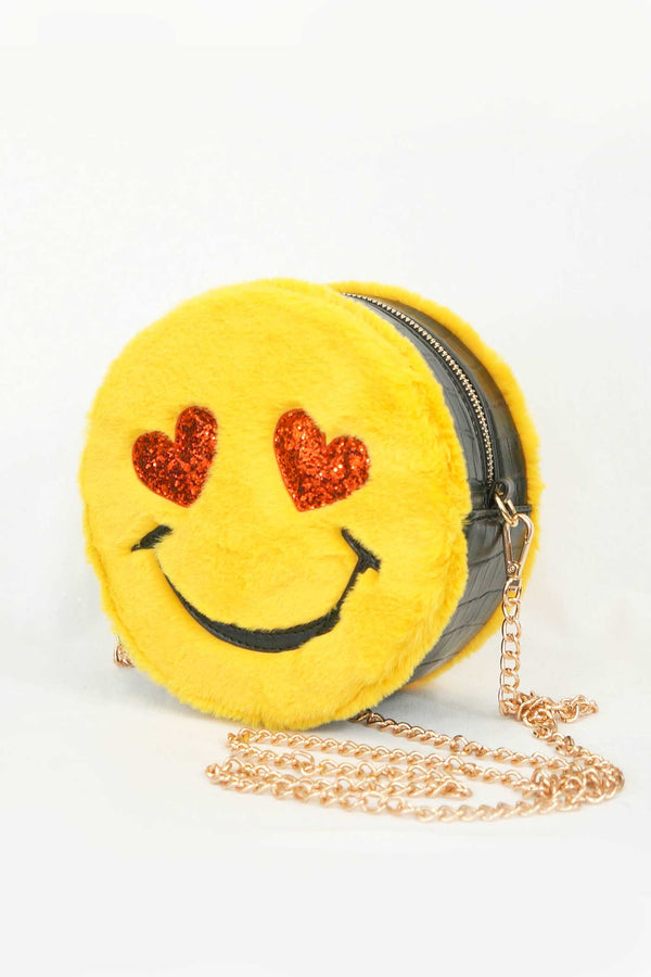 Hannah Banana Girls Emoji Faux Fur Cross Body Bag