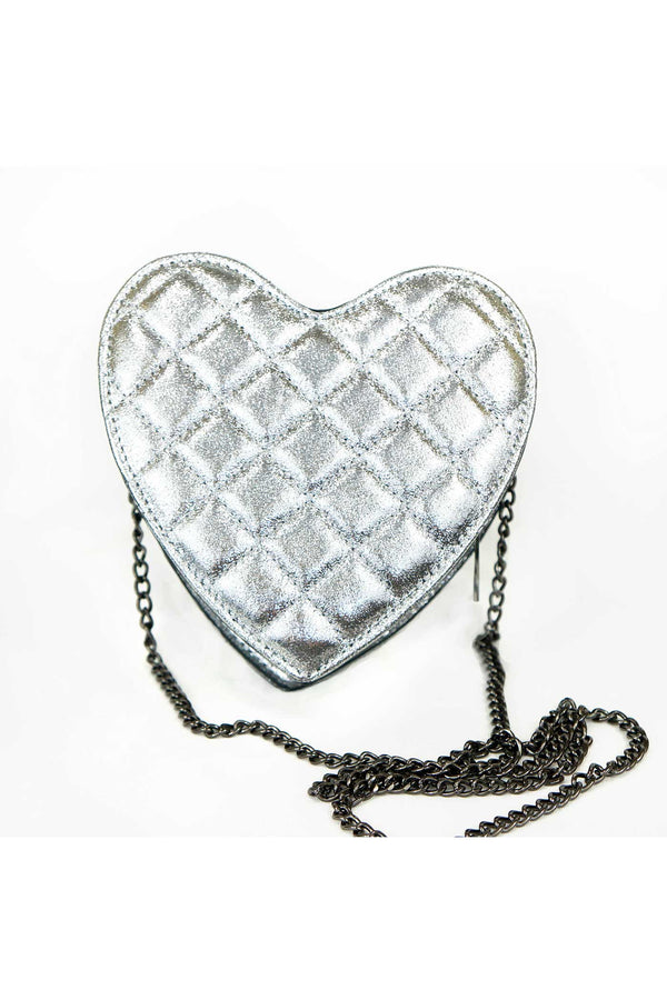 Hannah Banana Girls Quilted Heart Shape Metallic Bag