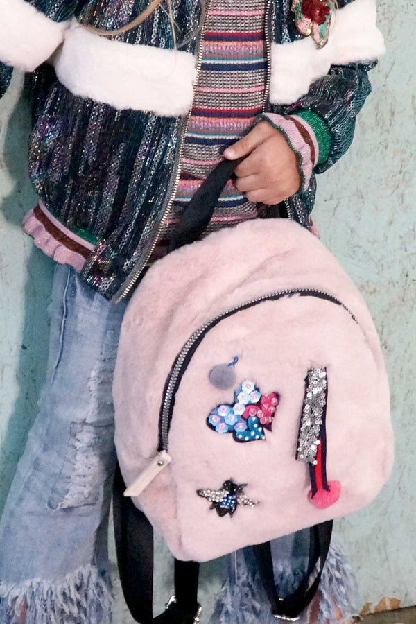 Girls Pink Faux Fur Mini Backpack