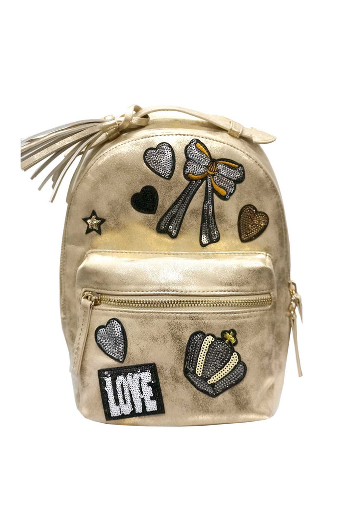 Hannah Banana Girls Gold Faux Suede Backpack