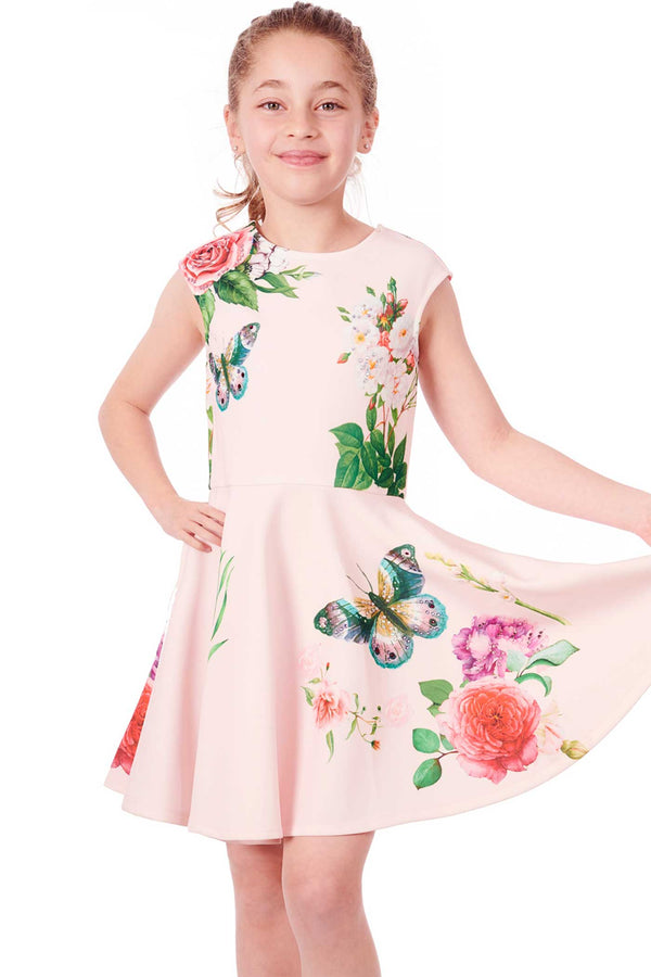 Hannah Banana Big Girls Fit and Flare Floral Print Skater Dress