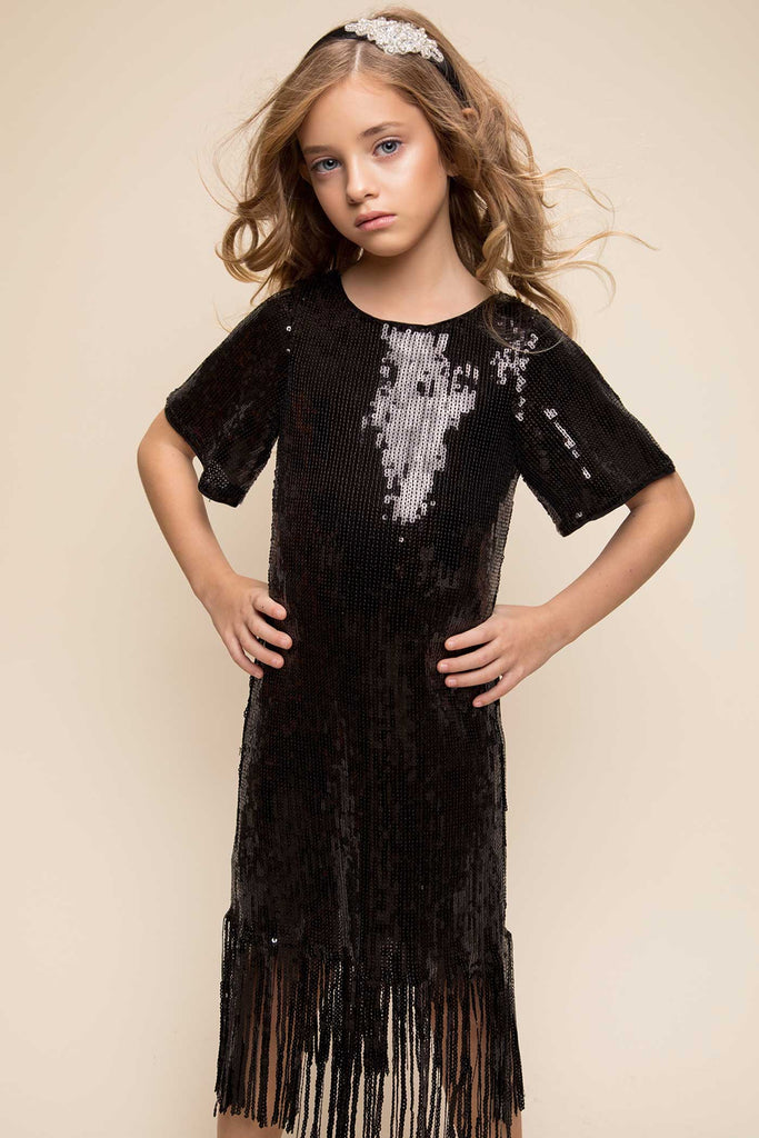 Hannah Banana short sleeve 20s retro style sequin fringe party dress