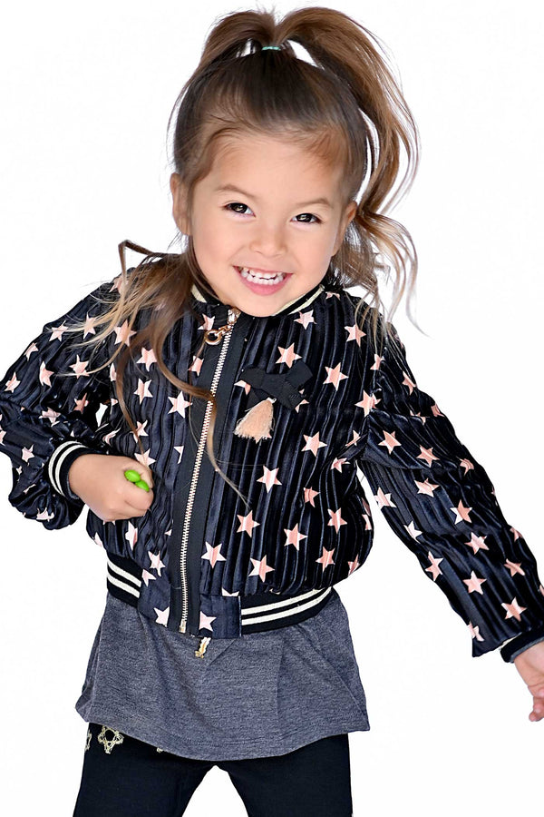 Truly Me Little Girls Pleated Velvet Star Bomber Jacket
