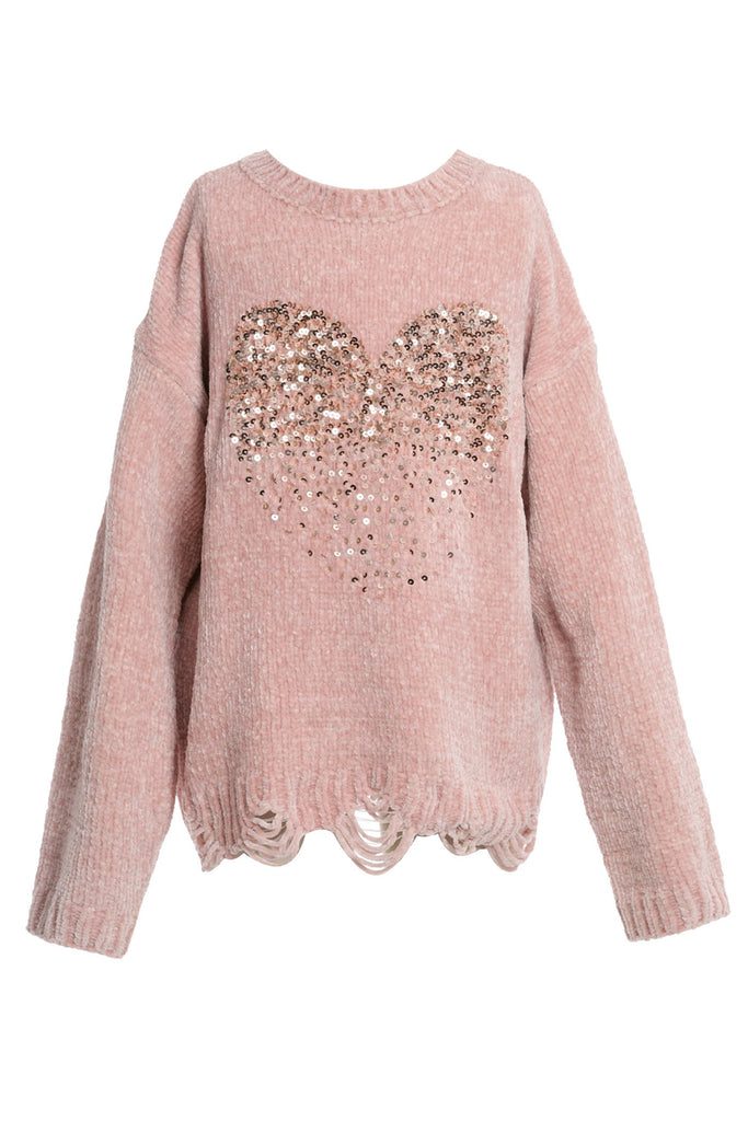LONG SLEEVE SWEATER TOP W/ SEQUIN HEART DETAIL