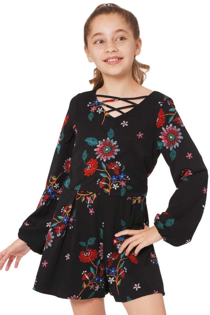 Truly Me Big Girls Floral Print Long Sleeve Romper