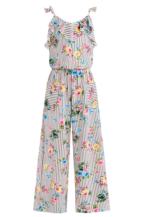 Big Girls Floral Stripe Ruffle Detail Jumpsuit
