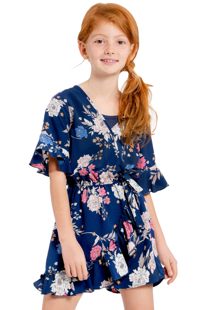 Big Girls Faux Wrap Ruffle Floral Romper
