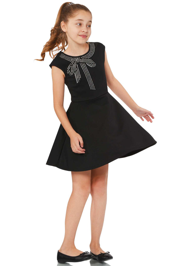 Truly Me Big Girls Rhinestone Bow Fit and Flare Skater Dress