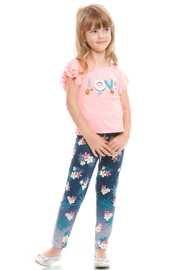 Truly Me Pink Little Girls Tropical Floral Print Leggings