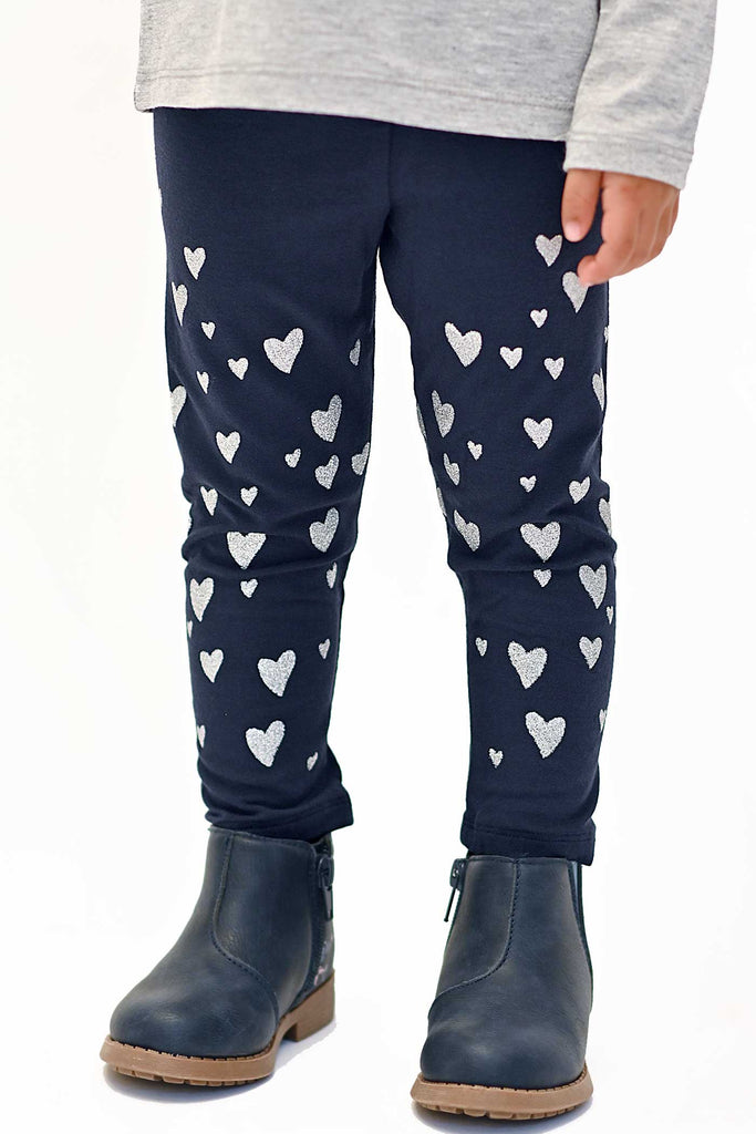 Truly Me Little Girls Silver Heart Leggings