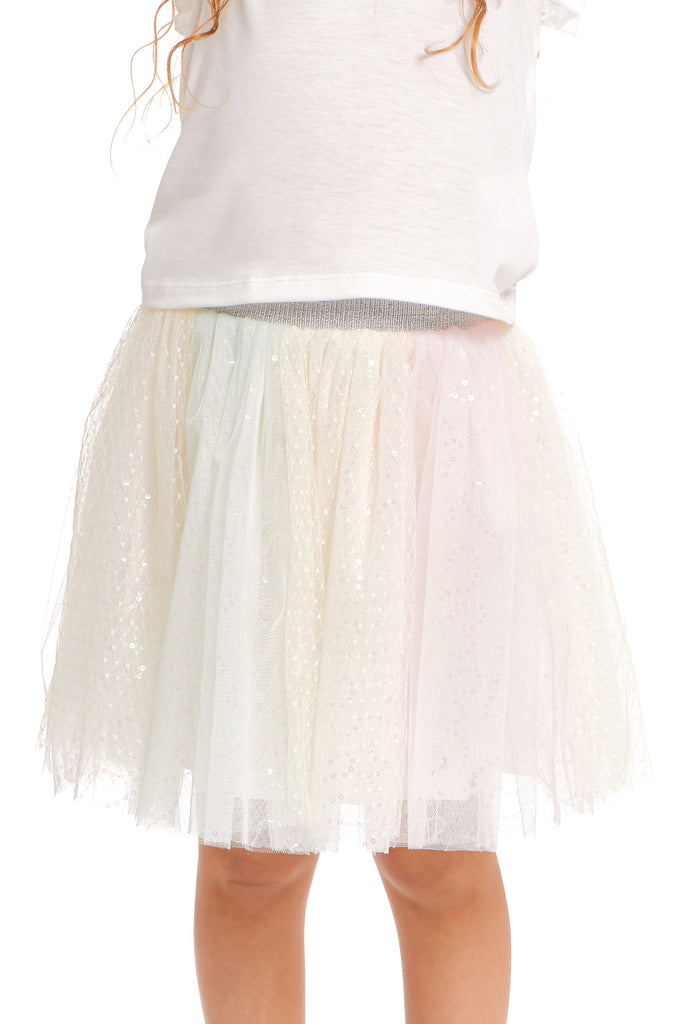 Truly Me Pink Little Girls Soft Sequin Rainbow Tutu Skirt