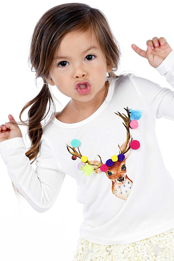 Truly Me Little Girls Reindeer Long Sleeve Graphic Top