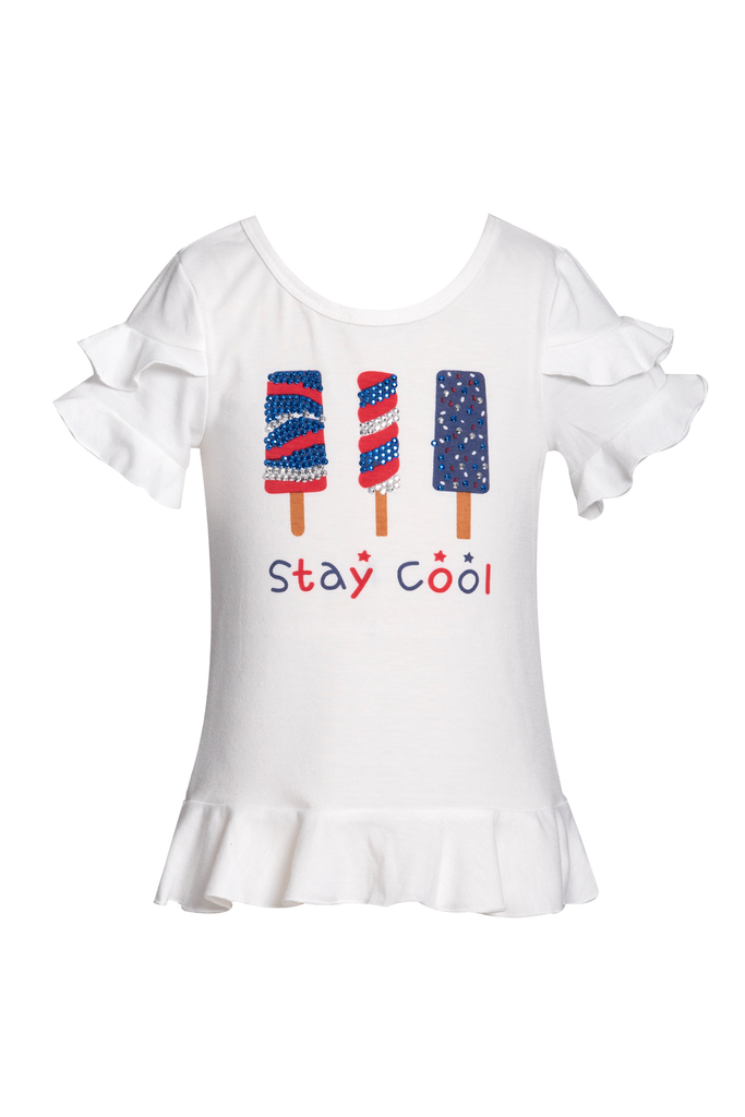 Little Girls 4th of July Theme Short Sleeve Ruffled Graphic T-shirt