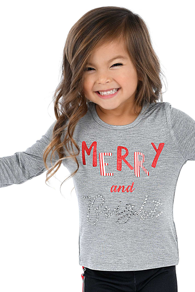 Truly Me Little Girls Merry And Bright Long Sleeve Top