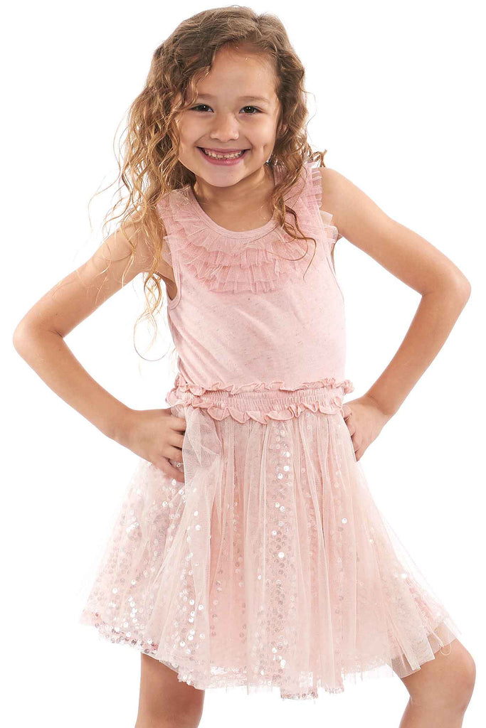 Little Girls Sleeveless Dress With Sequin Tutu Skirt