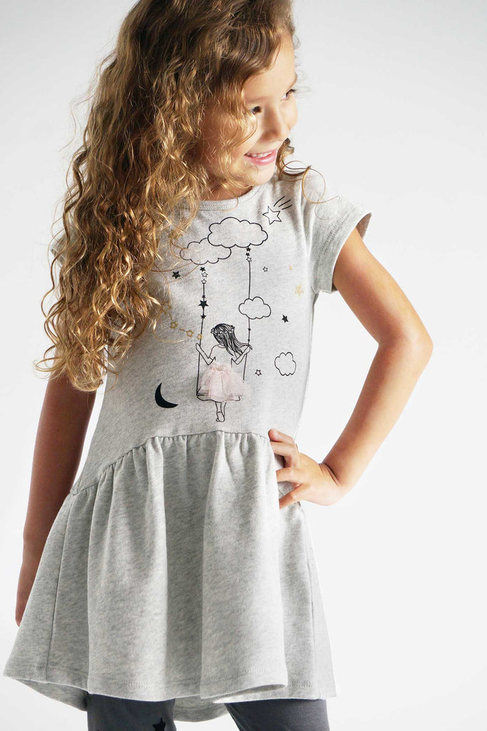 Truly Me Little Girls Short Sleeve Casual Graphic Knit Dress