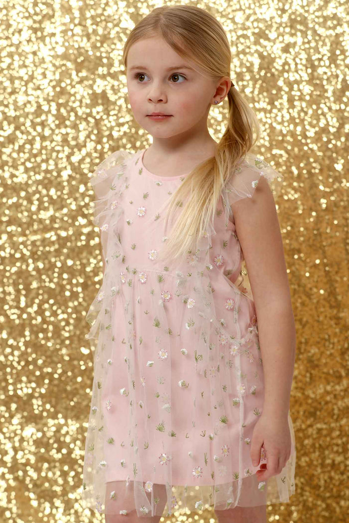 Truly Me Pink Little Girls Floral Embroidery Mesh Dress