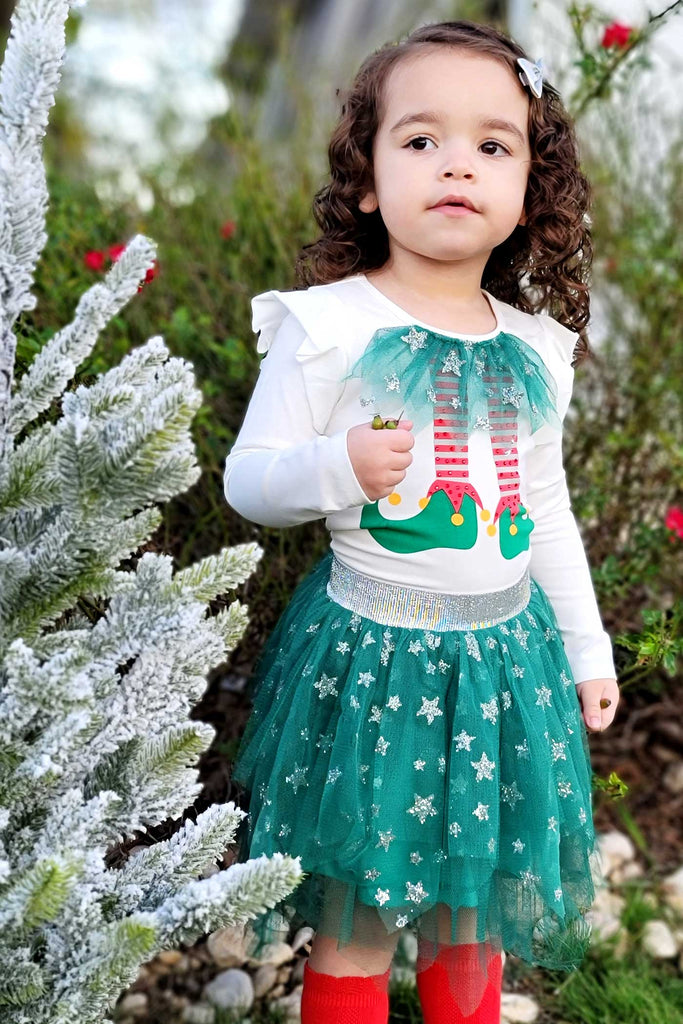 Truly Me Little Girls Elf With TuTu Skirt Long Sleeve Top