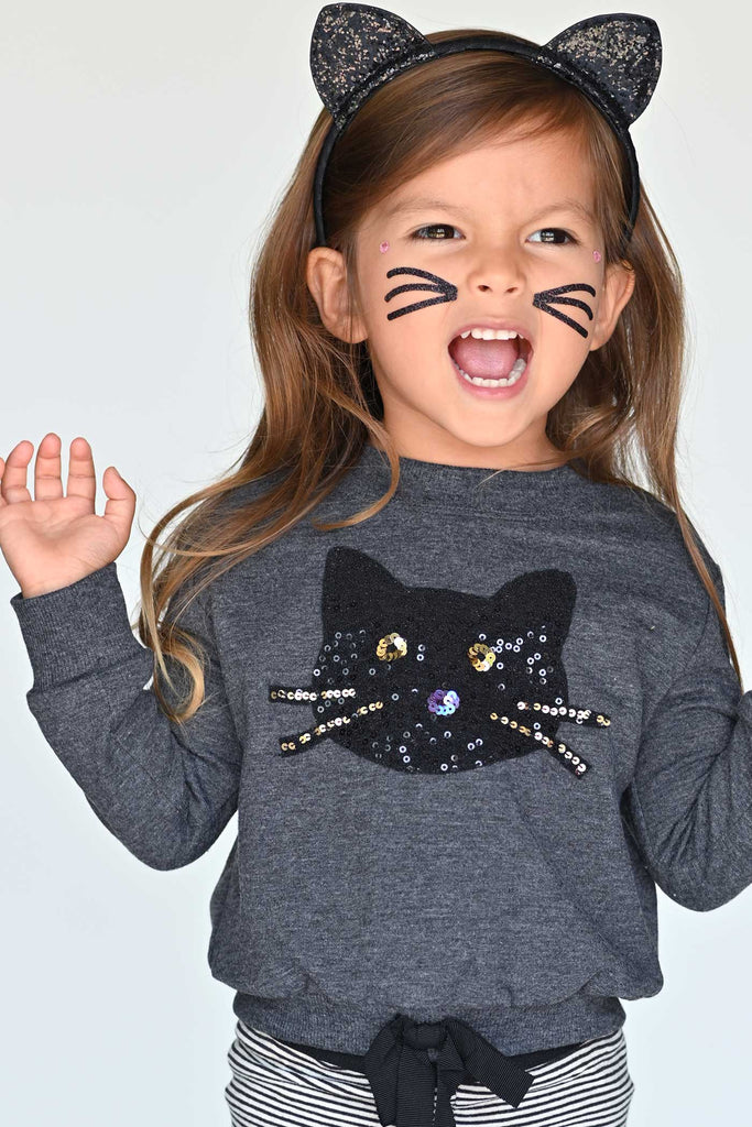 Truly Me Infant Girls Sequin Black Cat Halloween Sweatshirt