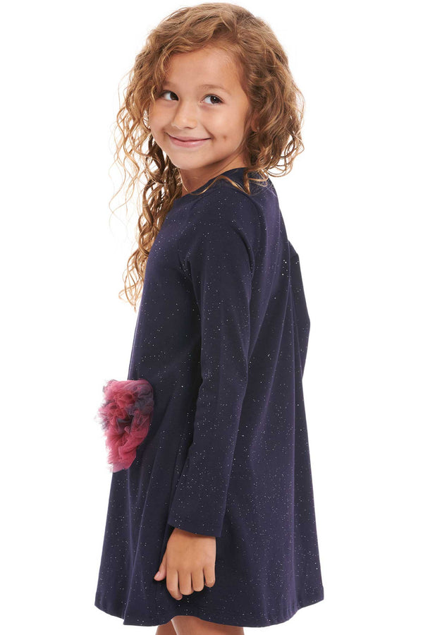 Truly Me Little Girls Long Sleeve Mesh 3D Heart Knit Dress