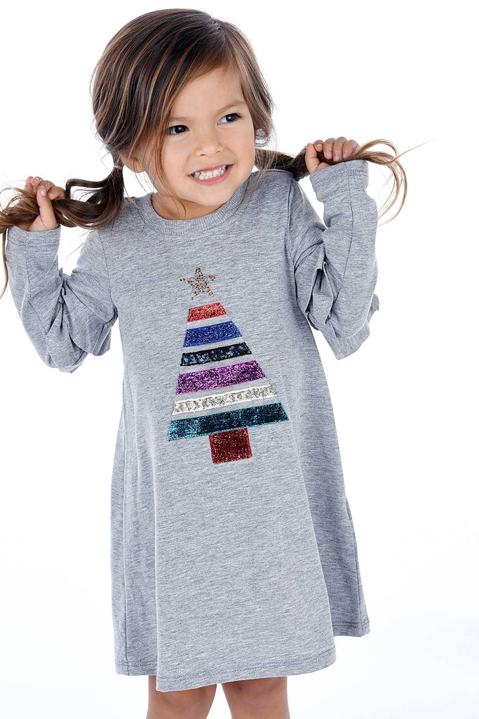 Truly Me Little Girls Christmas Tree Long Sleeve Dress