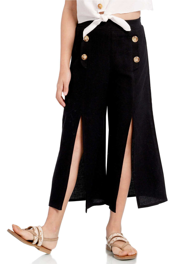 big girls front slit wide leg summer culottes