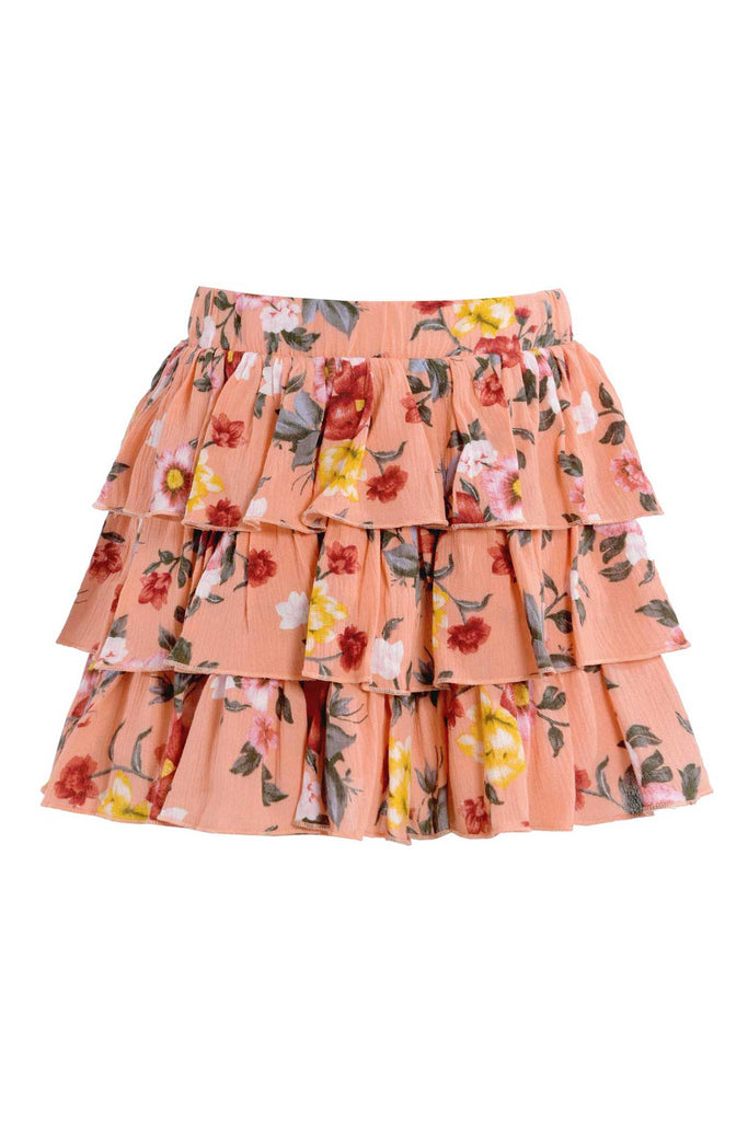 Truly Me Big Girls Three Ruffle Tiered Floral Print Skirt