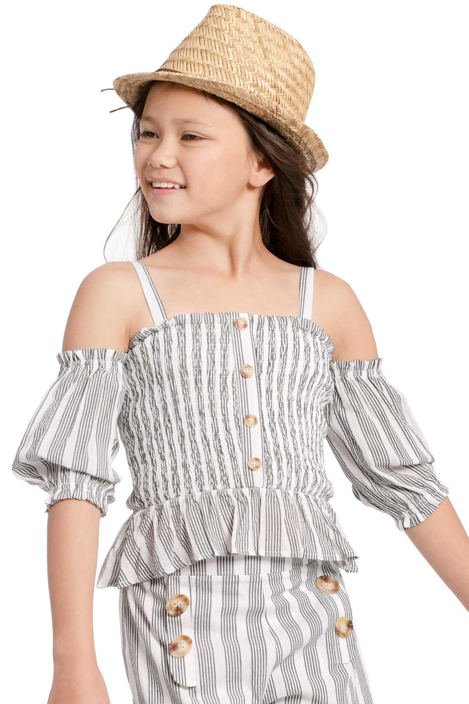 Big Girls Striped Off The Shoulder Smocked Summer Top