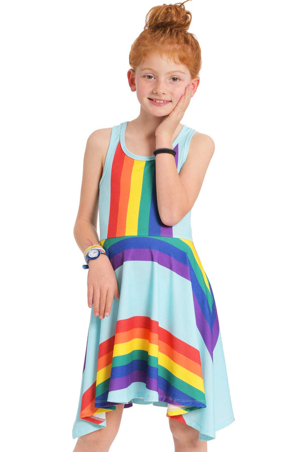 Big Girls | Big Girls Color Striped Racer Back High Low Rainbow Dress