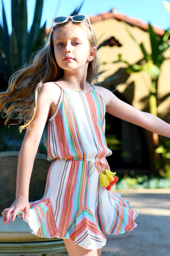 Big Girls Colorful Stripe Sleeveless Summer Romper