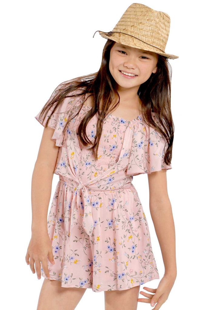 Big Girls Tie Front Floral Print Smocked Romper
