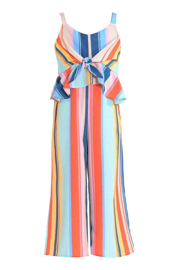 big girls tie front color stripe summer jumpsuit