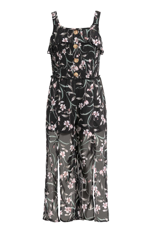 Truly Me Big Girls Floral Print Chiffon Jumpsuit with Front Slits