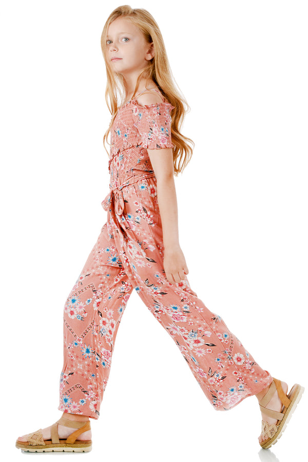 Big Girls Off The Shoulder Floral Print Jumpsuit