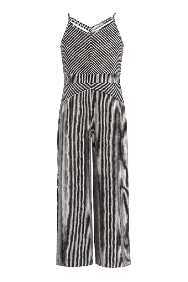 Big Girls Criss Cross Neck Striped Jumpsuit