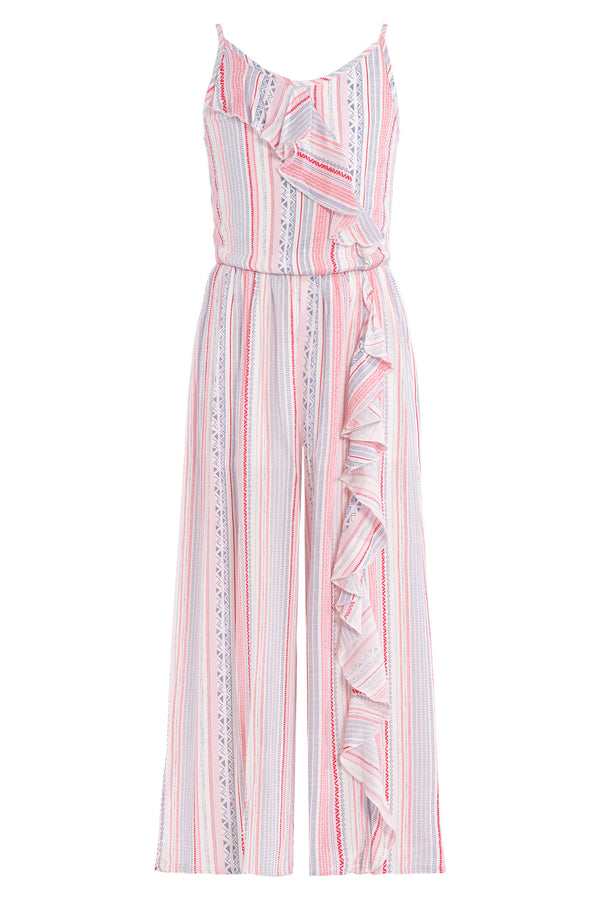 Big Girls Asymmetrical Ruffle Striped Jumpsuit