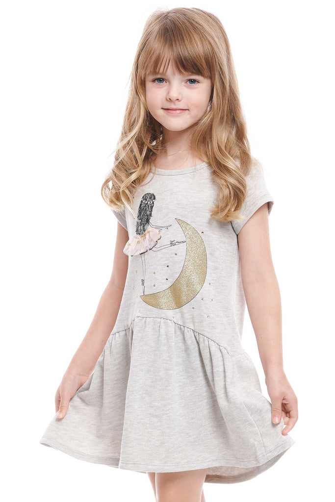 Truly Me Little Girls Ballerina On The Moon Short Sleeve Casual Dress