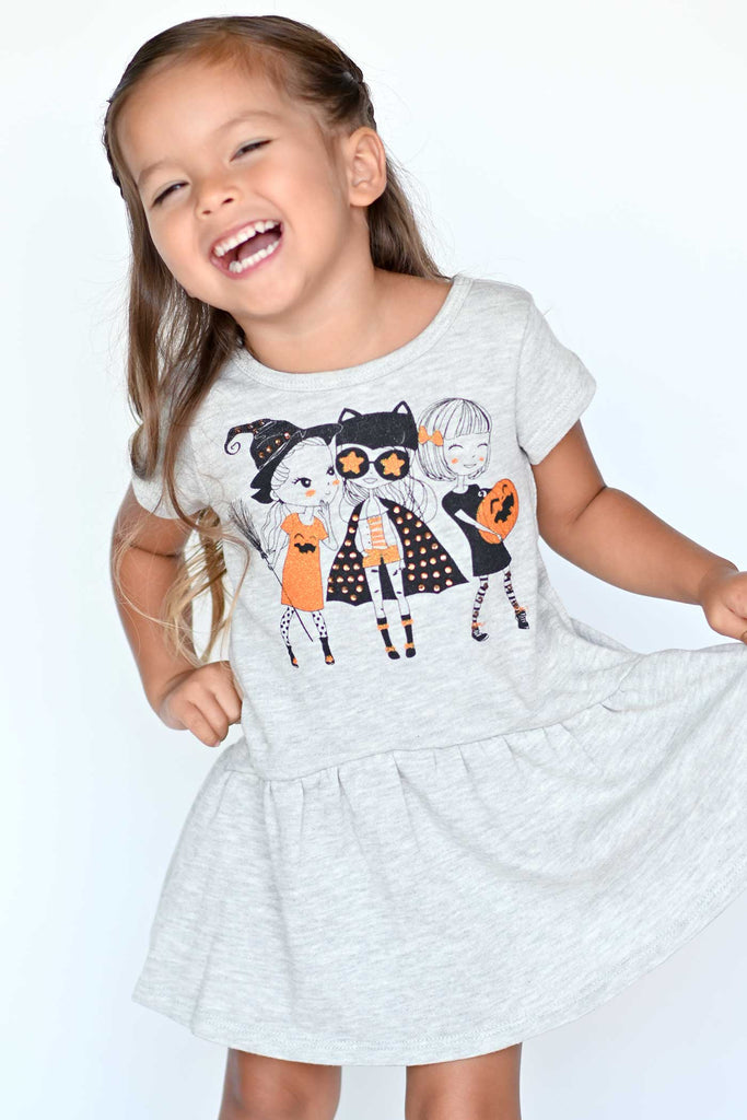 Truly Me Little Girls Short Sleeve Trick or Treat Besties Halloween Dress