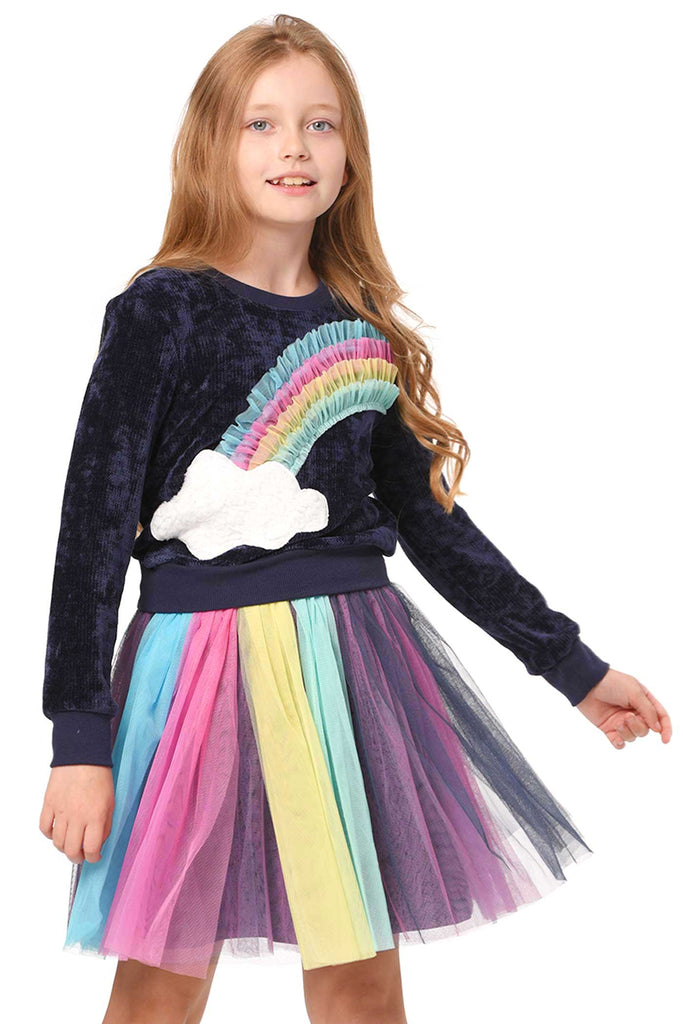 Truly Me Girls 3D Rainbow and Cloud Two Pice Dress