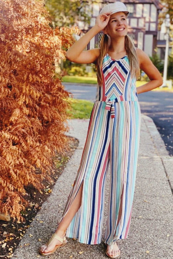 Truly Me Big Girls Tie Front Striped Sleeveless Jumpsuit