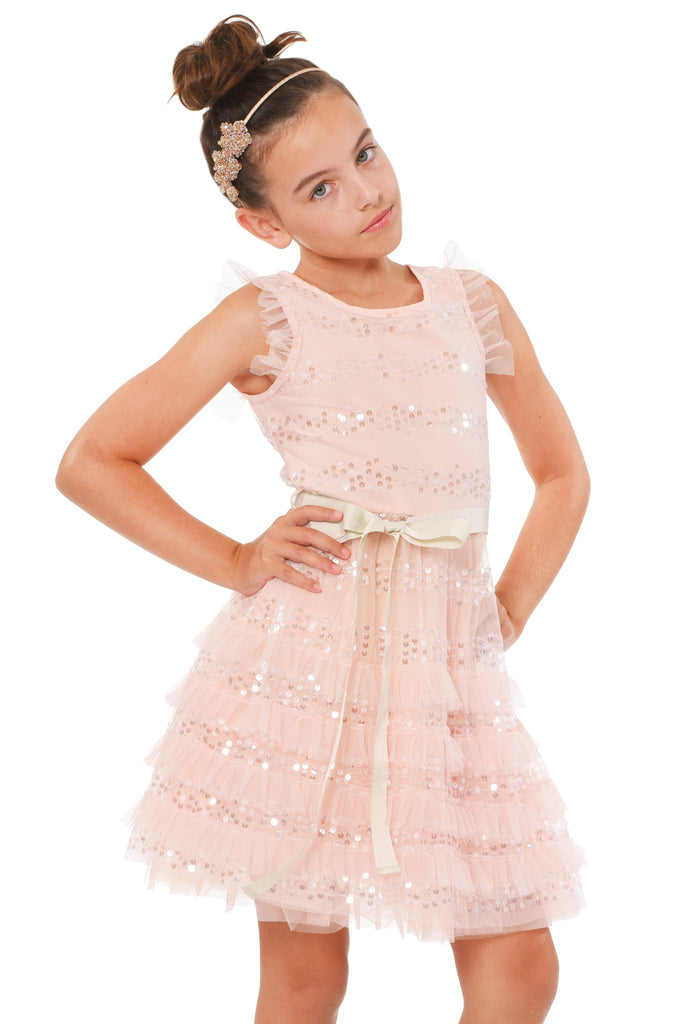 Truly Me Big Girls Sleeveless Ruffled Sequin Party Dress